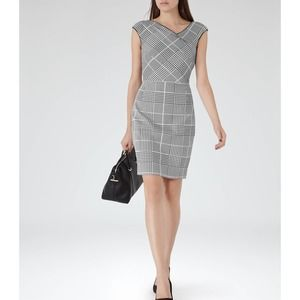 Reiss Rogue Houndstooth Check Tailored Dress